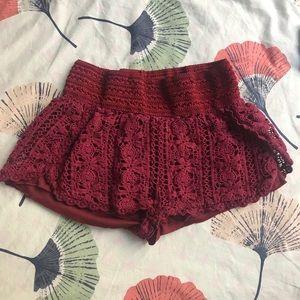 marooncute crochet fabric lined shorty shorts